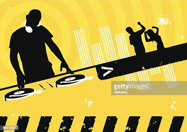clubbing scene - dj stock illustrations