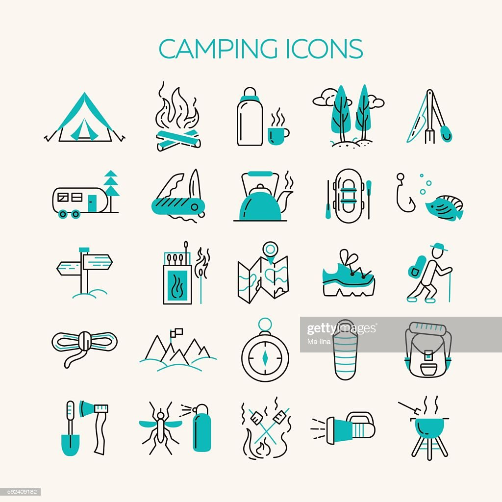 Cmping and tourism icons