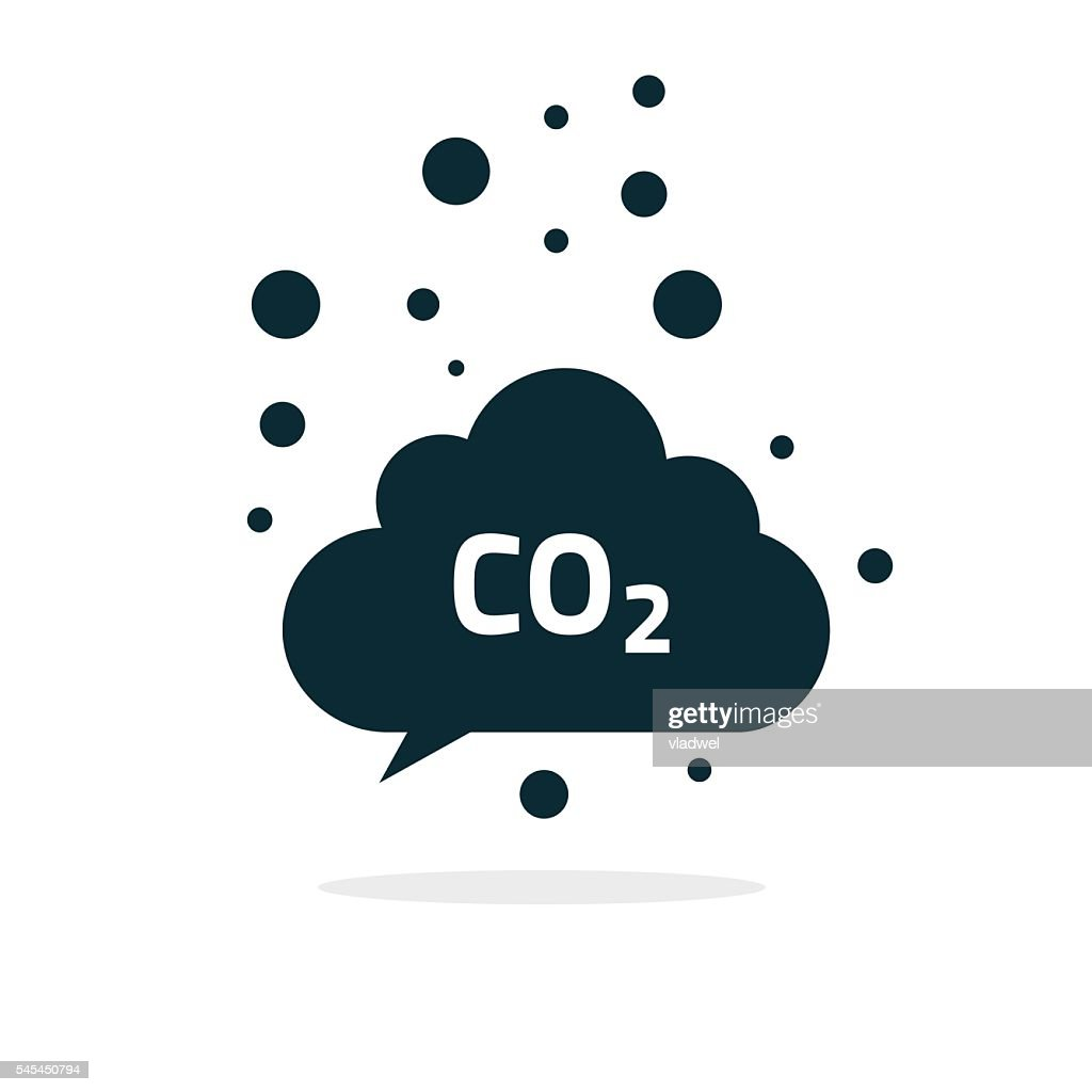 co2 emissions cloud icon vector, carbon dioxide emits symbol smog