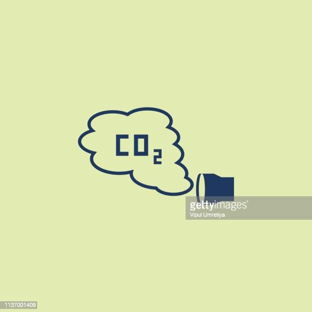 Co2 emissions vector illustration, car carbon dioxide emits symbol