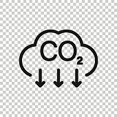 Co2 icon in flat style. Emission vector illustration on white isolated background. Gas reduction business concept.