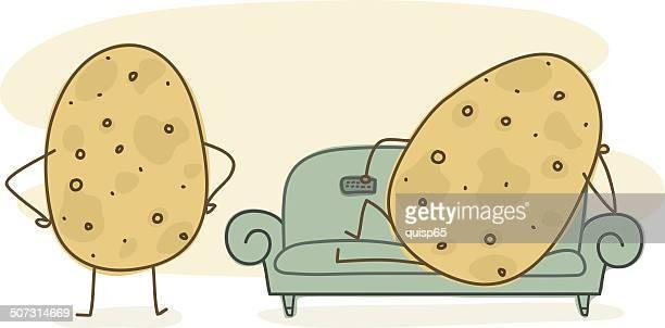 illustrations, cliparts, dessins animés et icônes de entraîneur de pommes de terre, griffonnage - mou