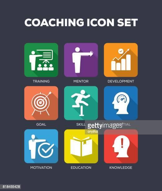 Coaching Flat Icon Set
