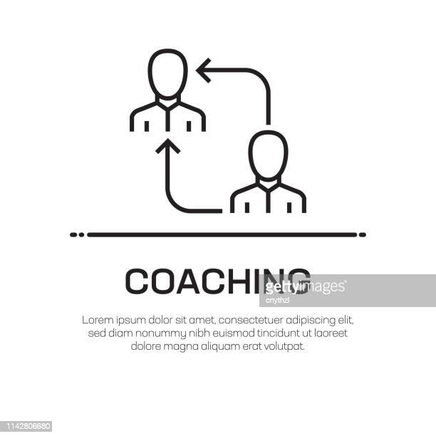 coaching vector line icon - simple thin line icon, premium quality design element - showing stock illustrations