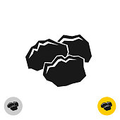 Coal black rocks icon. Three pieces of a coil together symbol. M