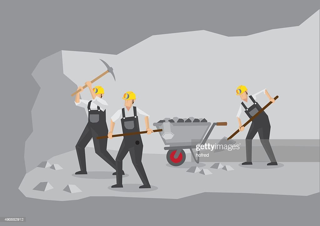 Coal Miners Working in Underground Mine Vector Illustration