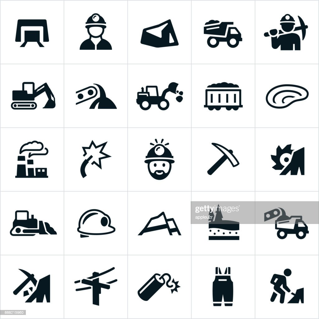 Coal Mining Icons : stock illustration