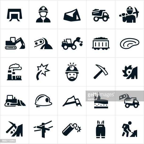 coal mining icons - coal mine stock illustrations
