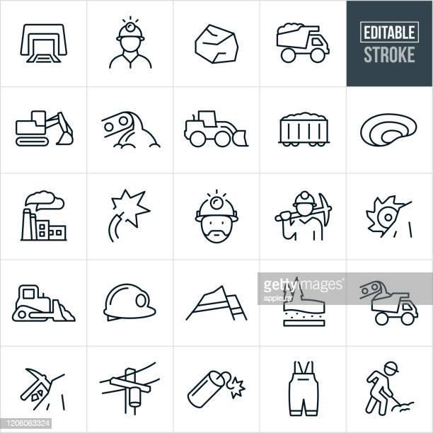bildbanksillustrationer, clip art samt tecknat material och ikoner med kolbrytning thin line ikoner - redigerbar stroke - gruvindustri