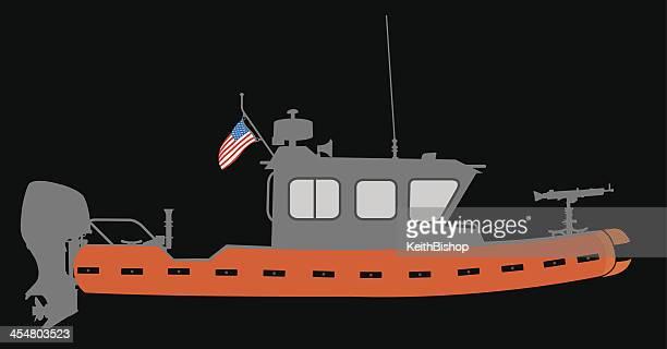 u.s. coast guard boat - us marine corps stock illustrations, clip art, cartoons, & icons