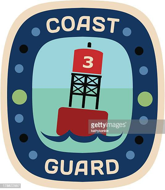 coast guard travel sticker or luggage label - buoy stock illustrations, clip art, cartoons, & icons