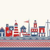 Coastal Buildings Retro Pattern