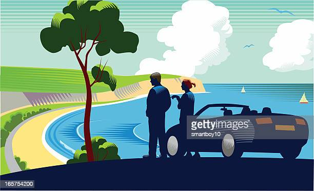 Coastal scene with car