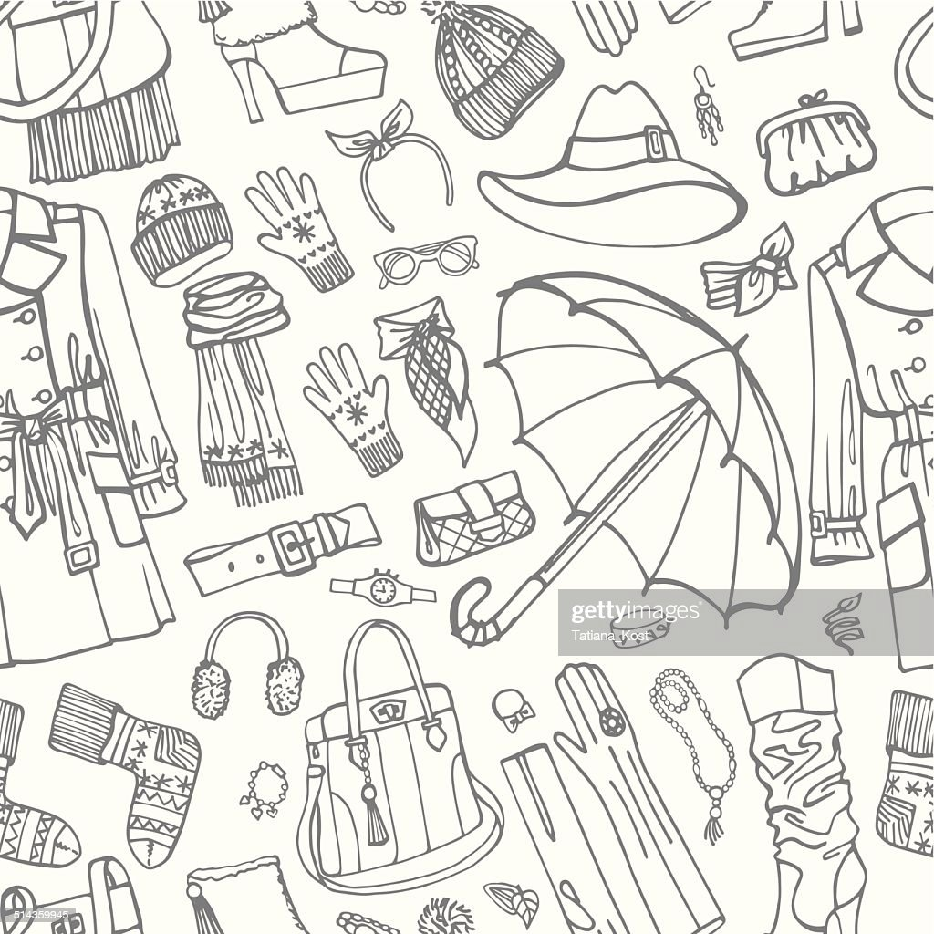 Coat and clothing accessories in seamless pattern. Woman fasion