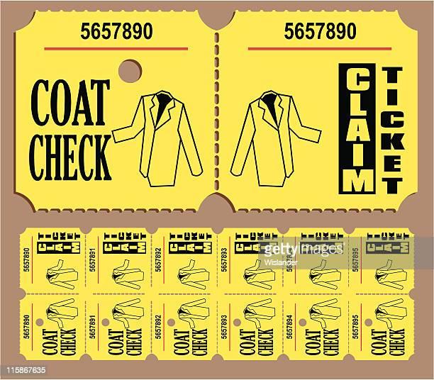 stockillustraties, clipart, cartoons en iconen met coat check ticket - gekarteld