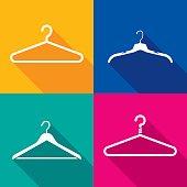 Coat Hanger Icon Silhouette Set