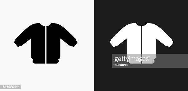coat icon on black and white vector backgrounds - sweater stock illustrations, clip art, cartoons, & icons