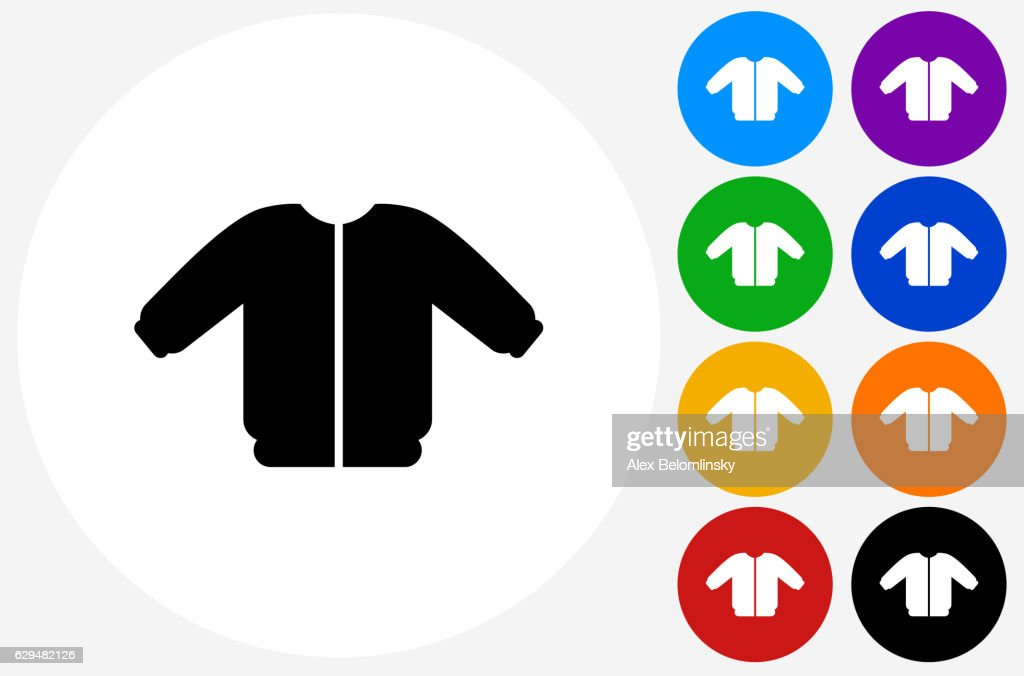 Coat Icon on Flat Color Circle Buttons