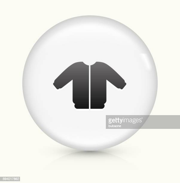 coat icon on white round vector button - cardigan sweater stock illustrations, clip art, cartoons, & icons