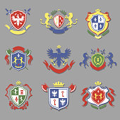 coat of arms collection, heraldry shields design set