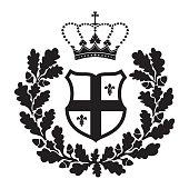 Coat of arms - shield with oak wreath and fleur-de-lys