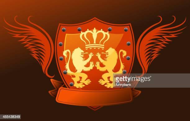 coat of arms - corona zon stock illustrations