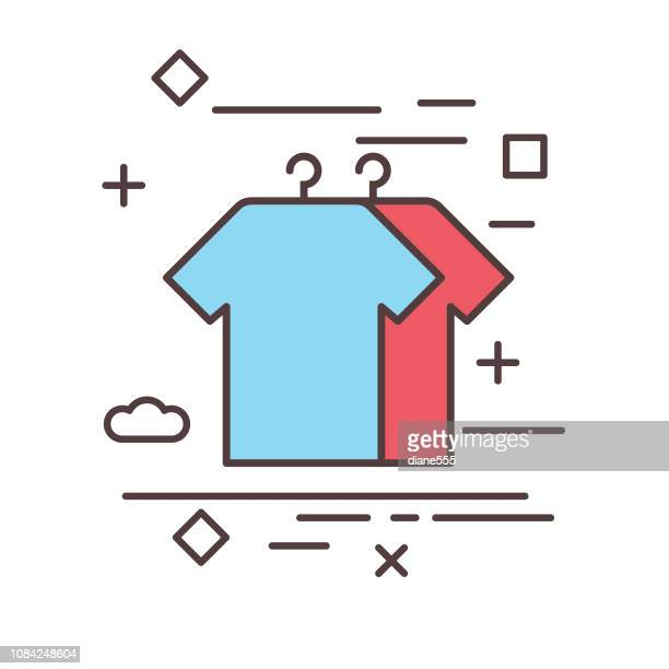illustrations, cliparts, dessins animés et icônes de manteau / chemise shopping et détail mince ligne icône - habillement
