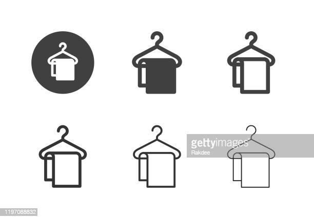 stockillustraties, clipart, cartoons en iconen met coathanger met handdoek pictogrammen-multi-serie - opgerold samenstelling