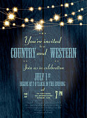 Cobalt Country and western invitation design template with string lights
