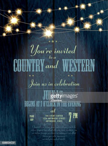 cobalt country and western invitation design template with string lights - country and western stock illustrations