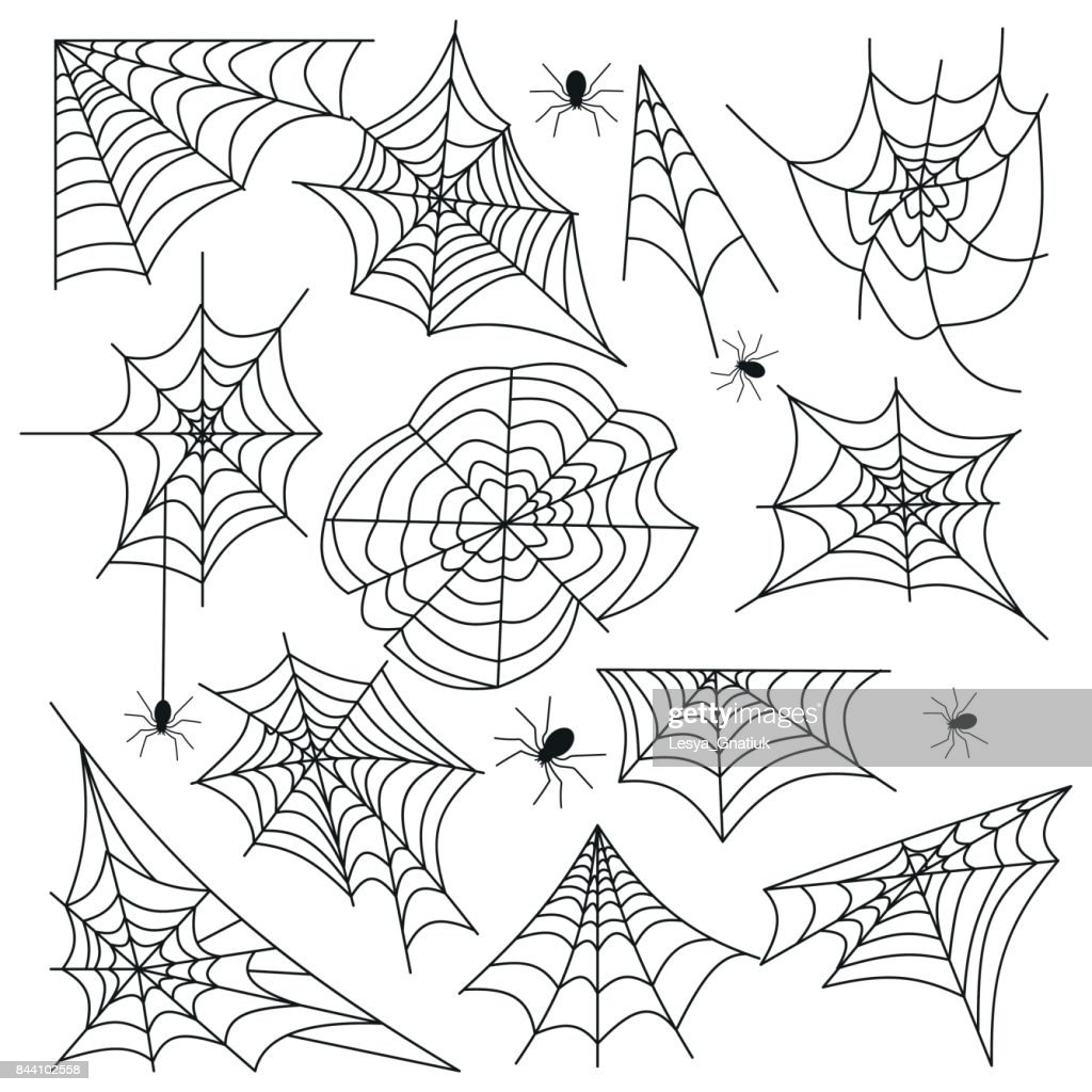 Cobweb set spider web halloween black vector