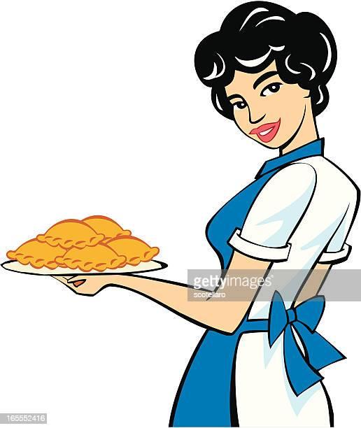 cocinera - meat pie stock illustrations, clip art, cartoons, & icons