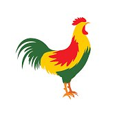 Cock icon in flat style
