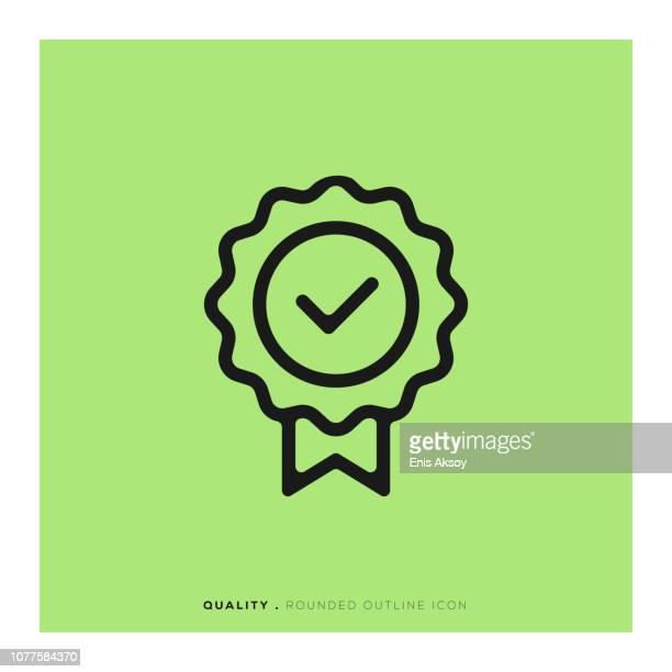 花形帽章丸みを帯びた線アイコン - 品質点のイラスト素材/クリップアート素材/マンガ素材/アイコン素材