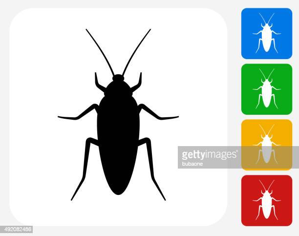 cockroach icon flat graphic design - pests stock illustrations