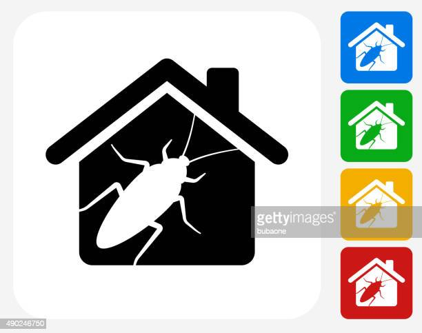 cockroach pests at home icon flat graphic design - pests stock illustrations
