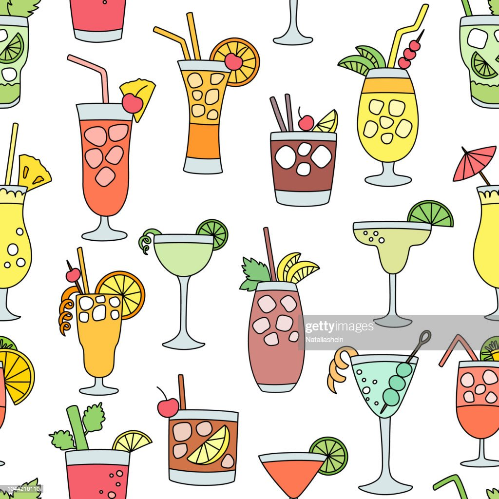 Cocktail alcohol beverage drinking alcoholic tequila martini drink cocktail in glass with pina colada mojito and cosmopolitan or drinkable bellinis seamless pattern background