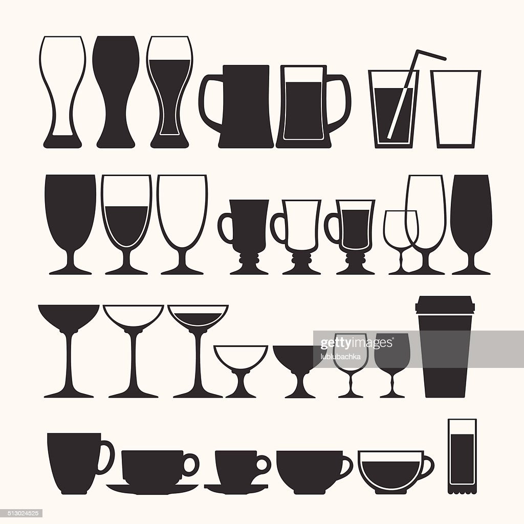 Cocktail and alcoholic glass vector set