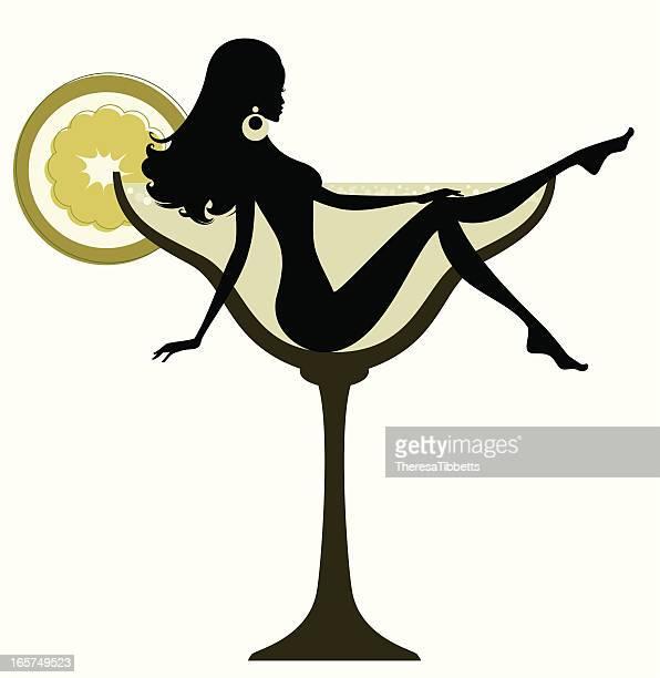 cocktail girls-margarita - margarita stock illustrations, clip art, cartoons, & icons