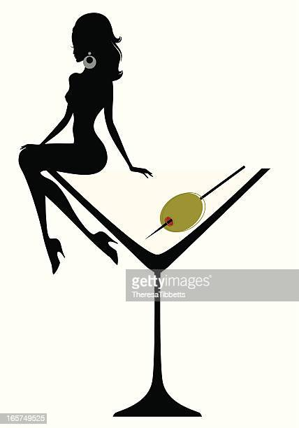 illustrations, cliparts, dessins animés et icônes de martini cocktail-pour-fille - sensualité