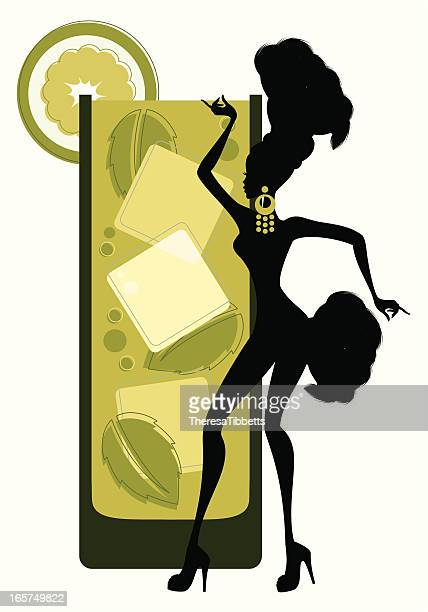illustrazioni stock, clip art, cartoni animati e icone di tendenza di ragazze-mojito cocktail - samba
