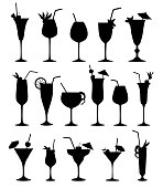 Cocktail glass silhouette set. Cocktail party drinks icons.