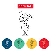 Cocktail glass with drink icons for menu, web and graphic design