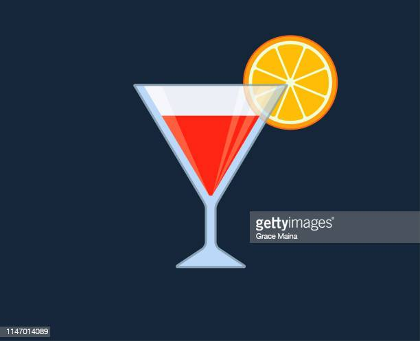 cocktail glass with vodka martini and lemon or orange garnish - scotch whiskey stock illustrations, clip art, cartoons, & icons