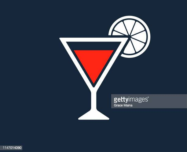 cocktail glass with vodka martini and lemon or orange garnish - cognac brandy stock illustrations, clip art, cartoons, & icons