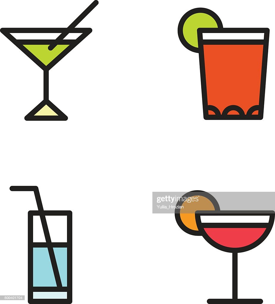 Cocktail Glasses Icon Set with jumbo straws