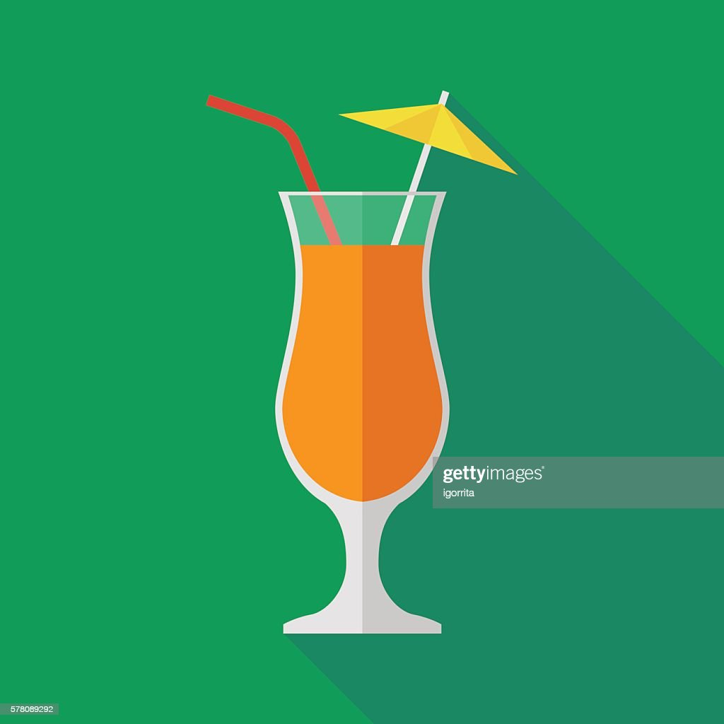 cocktail icon with long shadow. flat style vector illustration