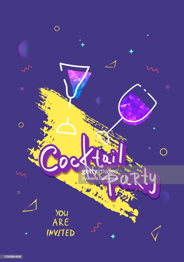 Cocktail party template.  Vector illustration.