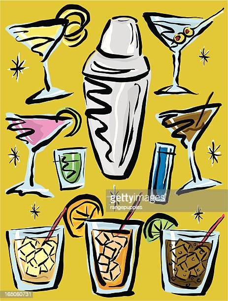 cocktail party - gin stock illustrations, clip art, cartoons, & icons