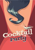 Cocktail party vector poster and card